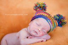 PATTERN  Rainbow Pom Hat easy crochet PDF size newborn by swellamy, $5.00