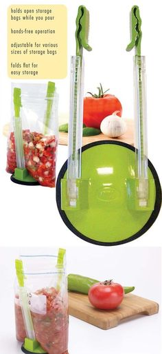 hands free bag holder -- ahhh, mess free when pouring I have this and use it all the time GREAT