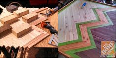 Outdoor art made from scrap wood is created for an outdoor dining area
