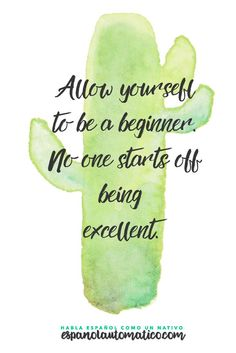 Permtete ser un principiante. Nadie empieza siendo excelente / Allow yourself to be a beginner. No-one starts off being excellent. Spanish Learning/ Teaching Spanish / Spanish Language / Spanish vocabulary / Spoken Spanish / More fun Spanish Resources
