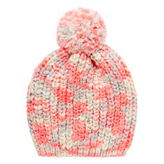 Teen girls knitted beanie printed with flecks of gold and an oversized pom pom…