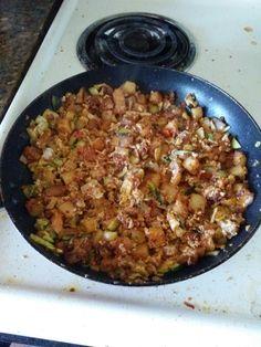 Veggie hash with chorizo