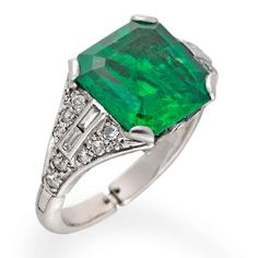 View this item and discover similar for sale at - A square-cut emerald and diamond ring, the emerald weighing carats set between round brilliant and baguette-cut diamond-set shoulders, all mounted Buy Diamond Ring, Emerald Diamond, Diamond Jewelry, Diamond Cuts, Emerald Rings, Real Gold Jewelry, Luxury Jewelry, Fine Jewelry, Jewlery