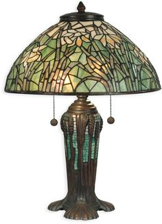 2-Light Tiffany Table Lamp Antique Bronze Verde Green