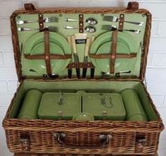 This Picnic  basket was made later 1940s by G. W. Scott and Sons  It was sold by Harrods London and Walsh's of Sheffield  Where my Dad bought one...We picnicked every weekend when possible in Derbyshire  A.W.