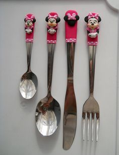 Personalised Minnie Cutlery Set Spoon Fork by PandoraPolymerclay