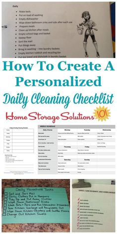 Here is how to create a personalized daily cleaning checklist for your home, which will be one of the two major compnents of your house cleaning schedule. There are also several examples from #Declutter365 participants who've already done this task {on Home Storage Solutions 101} #CleaningChecklist #CleaningSchedule #CleaningRoutine Daily Cleaning Checklist, Deep Cleaning Tips, House Cleaning Tips, Spring Cleaning, Cleaning Hacks, Cleaning Schedules, Cleaning Routines, Daily Schedules, Weekly Cleaning