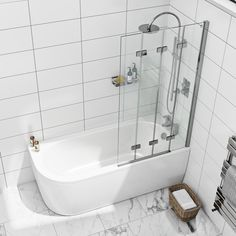 Orchard Elsdon right handed J shaped single ended shower bath with screen and bath mixer tap pack Bathroom Mixer Taps, Bathroom Tub Shower, Small Bathroom With Tub, Bath Shower Mixer, Attic Bathroom, Upstairs Bathrooms, Dream Bathrooms, Bathroom Layout, Bathroom Interior Design