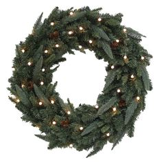 Pre-Lit 30-in Fraser Fir Indoor/Outdoor Artificial Christmas Wreath with 35-Count LED Multi-Function Lights