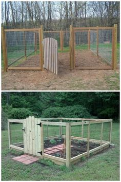 Chicken Coop - Garden Decoration Ideas: Cheap Fence Ideas, Garden Fence, Backyard Designs Fence Building a chicken coop does not have to be tricky nor does it have to set you back a ton of scratch. Diy Garden Fence, Easy Garden, Raised Garden Beds, Garden Landscaping, Raised Beds, Garden Gate, Raised Bed Garden Layout, Cheap Garden Fencing, Deer Garden
