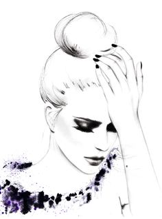 """fashion illustration by Kornelia Debosz    """"Please, don't leave me…""""    Inspired from Vogue Spain Feb '13 editorial with Clara Alonso"""