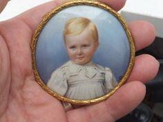 Exceptional late Victorian/ Edwardian enamel portrait miniature of a child,DC
