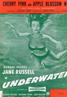 JANE RUSSELL CHERRY PINK AND APPLE BLOSSOM WHITE - UNDERWATER VINTAGE SHEET MUSIC