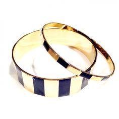 TULESTE NAVY STEP BANGLE...Gold and hand-layed navy enamel. (Set of 2.)