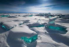 Northern Lake Baikal, Siberia The worlds oldest and deepest freshwater lake, forms enormous, turquoise icebergs in the winter.