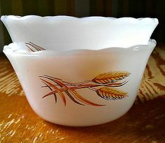 Pair of Vintage Wheat Fire King 6oz Custard Dishes *Mint Condition*