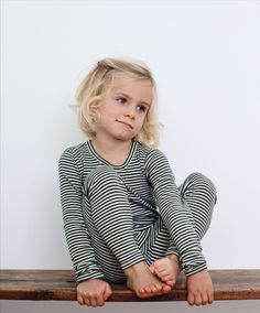 Slim fit, long sleeve t-shirt and leggings in classic Serendipity soft mélange quality of 100% organic cotton. The softest there is! Lovely deep pine green colour with thin off-white stripes. Serendipity, Kids Wear, Designer Dresses, Pine, Organic Cotton, Cotton Fabric, Kids Outfits, Dress Up, Trousers