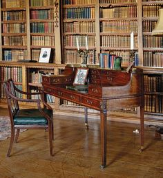 Writing desk and books...
