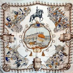 Pont Neuf à Paris Le (blanc)1 Textile Patterns, Textile Prints, Hermes Paris, Turbans, Cooling Scarf, Kelly Bag, Designer Scarves, Scarf Design, Christian Lacroix