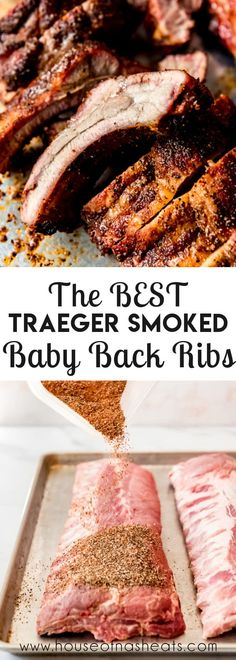 Tender and juicy, my Uncle Richard's Brown Sugar & Honey Smoked Baby Back Ribs don't need any BBQ sauce at all! They are amazing just the way they are when they come off the smoker and will have everybody licking their fingers and reaching for more! #ribs #babybackribs #traeger #smoker #pelletgrill #grilling #bbq #rub #spicerub #pork