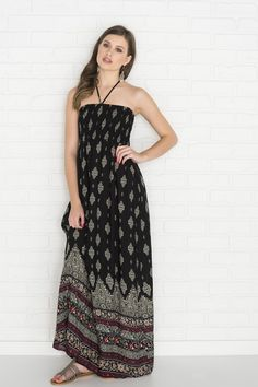 Black & beige printed halter maxi dress - Prom Shop