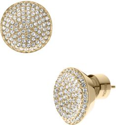 Michael Kors Gold Gold Tone Concave Pave Stud Earrings