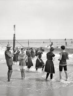 New York circa 1905. Surf bathing at Coney Island.