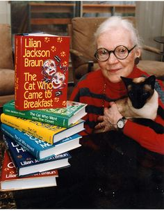 "Lilian Jackson Braun - Author of the ""Cat Who"" books that center around the life of James Qwilleran, and his two Siamese cats, KoKo and Yum-Yum. These books are what decided me on getting a Siamese! Jackson, I Love Books, My Books, Amazing Books, Who Book, Mystery Books, Mystery Series, Cat People, Cozy Mysteries"
