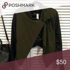 Olive green moto jacket Nwot Mustard Seed Jackets & Coats