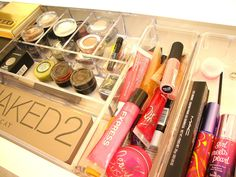 Makeup storage. Just use clear plastic containers hidden away in a drawer!