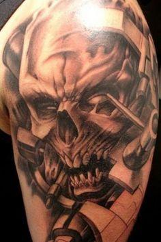 Skull Half Sleeve Tattoo Design