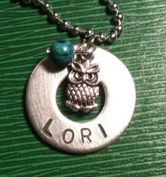 Personalized Metal Stamped Washer Necklace with  owl charm