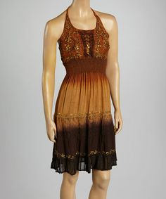 Look what I found on #zulily! Brown Smocked Ombré Halter Dress by Fashion Terminal #zulilyfinds