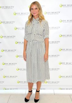 Spot the fashionista: Gwyneth Paltrow looked stylish in polka dots introduced her new line of high-performance make-up for Juice Beauty at a launch event in Los Angeles on Wednesday Celebrity Red Carpet, Celebrity Dresses, Celebrity Style, Nice Dresses, Summer Dresses, Inspiration Mode, Costume, Catwalks, Red Carpet Dresses