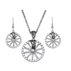 Montana Silversmiths Silver, Crystal and Filigree Wagon Wheel Jewelry Set