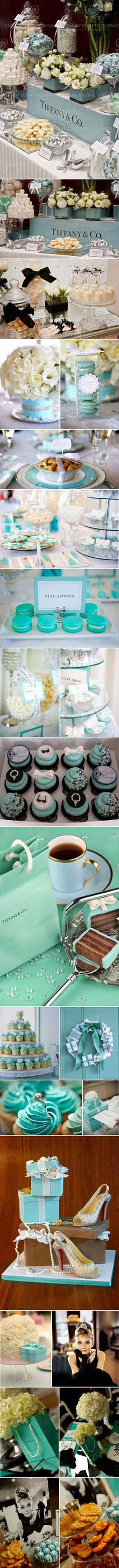 Tiffany & Co bridal shower inspiration - candy buffet, tablescapes, roses, gift boxes
