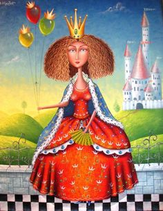 Pinzellades al món: Les il·lustracions de Zurab Martiashvili Georgia, Colorful Paintings, Beautiful Paintings, Diamond Picture, Queen Pictures, Art Academy, Naive Art, Russian Art, Fantastic Art