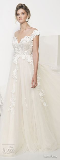 Yaniv Persy Wedding Dresses Spring 2019 - Couture Bridal Collection. A princess ball gown wedding dress with off the shoulder sweetheart neckline, tulle skirt and lace floral appliques. #weddingdress #weddingdresses #bridalgown #bridal #bridalgowns #weddinggown #bridetobe #weddings #bride #weddinginspiration #weddingideas #bridalcollection #bridaldress #fashion #dress See more gorgeous bridal gowns by clicking on the photo