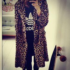 leopard jacket + adidas tee.