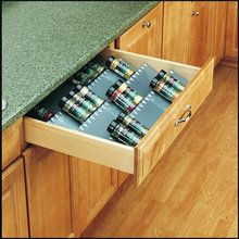 Use for bobby pins, rubber bands, other hair accessories, and nail polish {Rev-A-Shelf ST50-21-52 ST50 Series Trimmable Universal Fit Spice Tray at PullsDirect.com.}