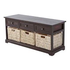 "HomCom 40"" 3-Drawer 3-Basket Storage Bench - Cherry Brown"