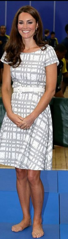 Who made Kate Middleton's white and tan print dress and nude wedge shoes?
