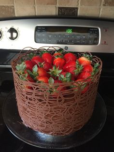 Chocolate cage cake with fresh strawberries