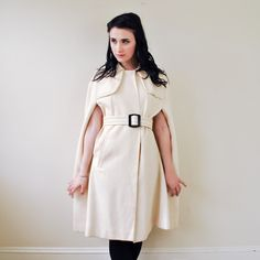'60s Mod Couture Belted Cape - Rock and Roll Vintage