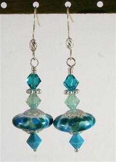 Lampwork Earrings Artisan Lampwork Beads Handmade Lampwork Earrings Green Blue Turquoise SRA, Le Team, Dust Team. $28.00, via Etsy.
