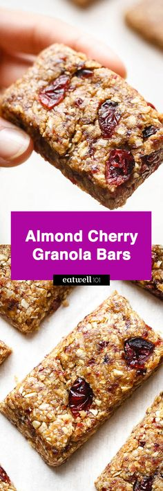 No-Bake Almond Cherry Granola Bars – Chewy and full of delicious flavors, these homemade granola bars are made with only 5 ingredients! – by Pre-make a week's worth of granola bars for your (and your children's) lunches i. Healthy Granola Bars, Chewy Granola Bars, Homemade Granola Bars, Healthy Bars, Healthy Baking, No Bake Granola Bars, Muesli Bars, Healthy Desserts, Healthy Foods