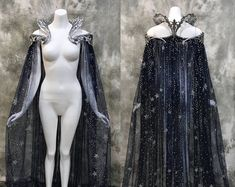 Fantasy Starry Collar Cloak ~ Wicca Cape Witch Outfit Celestial Bridal Elven Gothic Pagan Medieval Dress Cape ~ Venice Carnival Ball Costume – The Best Ideas Witch Wedding, Fall Wedding, Rustic Wedding, Pagan Wedding, Wedding Dinner, Wedding Beach, Gothic Wedding, Wedding Ideas, Gothic Mode