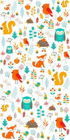 Seamless wallpaper with animals for children - Scandinavian home decor for kids' room. Get inspired! Owl Wallpaper, Modern Wallpaper, Pattern Wallpaper, Kids Patterns, Print Patterns, Islamic Art Pattern, Dibujos Cute, Colorful Animals, Modern Wall Decor