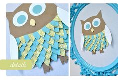 Owl with paper cut feathers