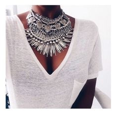 jewels necklace silver boho gypsy statement big festival coachella statement necklace